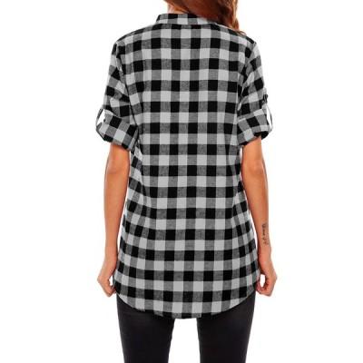 Beyove Women's 3/4 Cuffed Sleeve V-Neck Pullover Plaid Top T-Shirt Blo