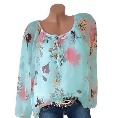 レディース 衣類 トップス Women's Plus Size Floral Lace Up Blouse Tops Casual Tunic Loose T Shirts ブラウス&シャツ