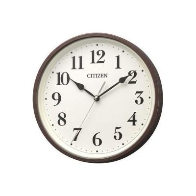 リズム時計 8MYA42-006 シチズン 電波時計 掛け時計 連続秒針 小型 直径25cm(ブラウン) (8MYA42006)