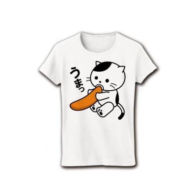 柿の種とねこ リブクルーネックTシャツ(ホワイト)