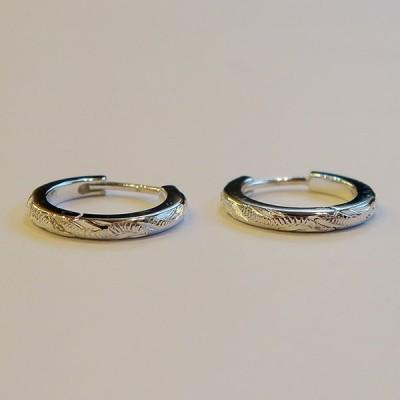 ハワイアンジュエリー フープピアス シルバー製 両耳用 レディース 小ぶりでかわいい
