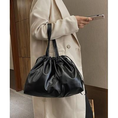 aimoha / 巾着型無地ショルダーバッグ(小) WOMEN バッグ > ショルダーバッグ