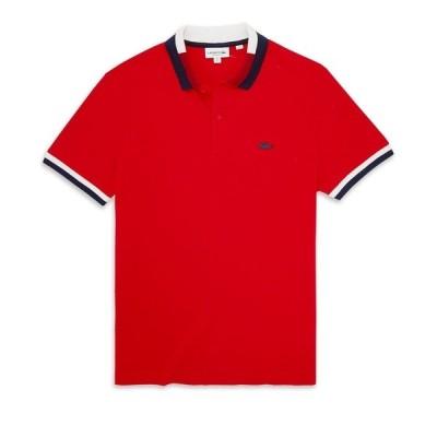 ラコステ ポロシャツ トップス メンズ Men's Regular-Fit Tipped Piqué Polo Shirt, Created for Macy's RED/FLOUR-NAVY BLUE