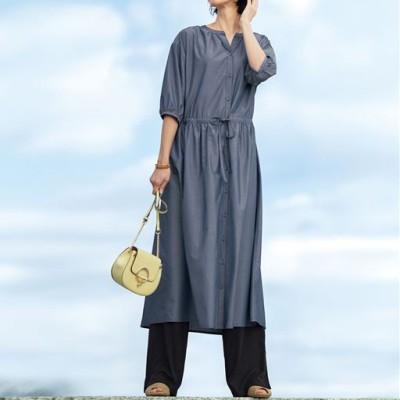 スマートドライシャツワンピース(UVカット・接触冷感・吸汗速乾・抗菌防臭)/ネイビー系/M