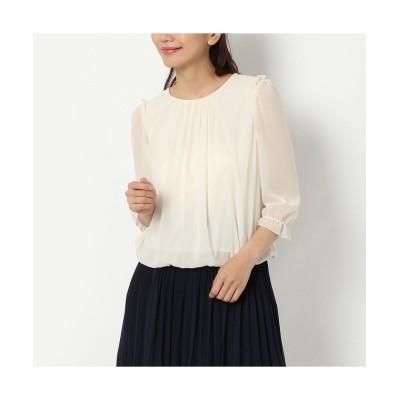 (Rose Tiara(L SIZE)/ローズティアラ エルサイズ)バルーン裾シフォンブラウス/レディース オフ