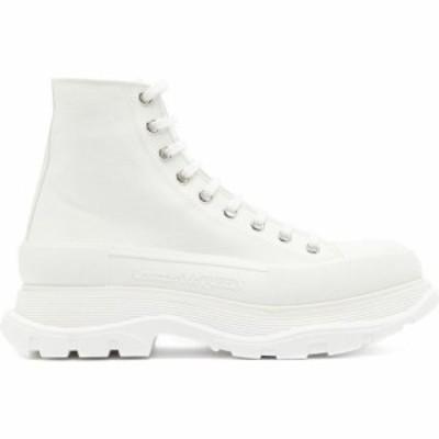 アレキサンダー マックイーン Alexander McQueen メンズ スニーカー シューズ・靴 Chunky-sole high-top canvas trainers White