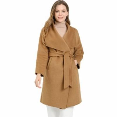 Allegra K ロングコート ショールカラー ラップコート アウター 防寒 冬用 ベルト付き レディース キャメル L