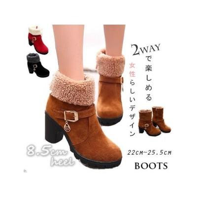 2020秋冬  靴 ブーツ スエード調 アンクル ミドル ブーツ 2way boots フェミニン