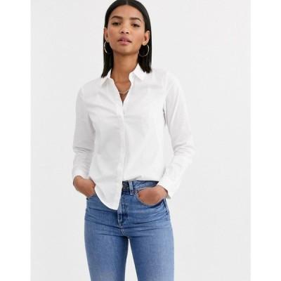 エイソス ASOS DESIGN レディース ブラウス・シャツ トップス long sleeve fitted shirt in stretch cotton ホワイト