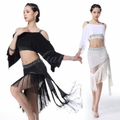 ベリーダンス 社交ダンス ラテン 2色 上下セット レッスン着 練習服  舞台 演出 ステージ ダンス衣装 rysq01633
