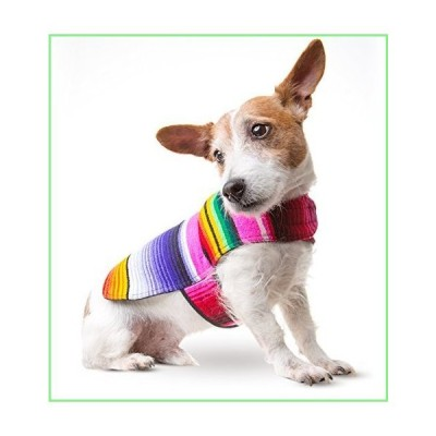 Dog Clothes - Handmade Dog Poncho from Authentic Mexican Blanket by Baja Ponchos (Pink No Fringe, Small) 並行輸入品