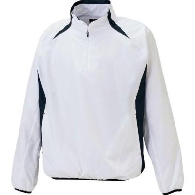 ゼット 野球 ソフトボール ZETT アウターウェア 長袖ハーフジップジャンパー 20FW ホワイト/ネイビー ウインドブレーカー(bov335-1129)