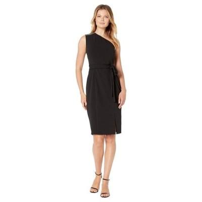 ドナモーガン レディース ワンピース トップス Stretch Crepe Sparkle Detail One Shoulder Belted Bodycon with Slit Dress