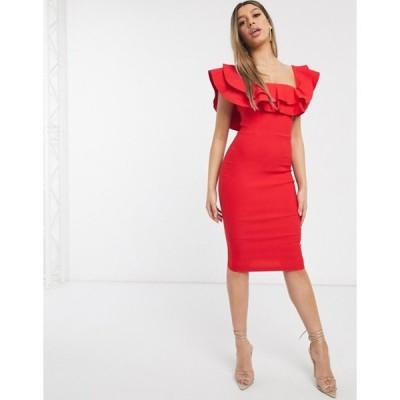 ベスパー レディース ワンピース トップス Vesper bardot midi dress in red