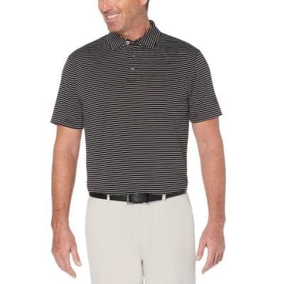 PGAツアー ポロシャツ トップス メンズ Men's Striped Golf Polo Caviar
