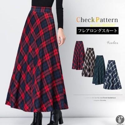 チェック柄 チェック柄 スカート ロングスカート ポケットあり ロングスカート ボトムス フェイクウールミモレ丈 厚手 ウエストゴム Aライン