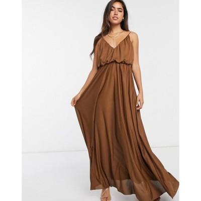 エイソス レディース ワンピース トップス ASOS DESIGN cami plunge maxi dress with blouson top in chocolate