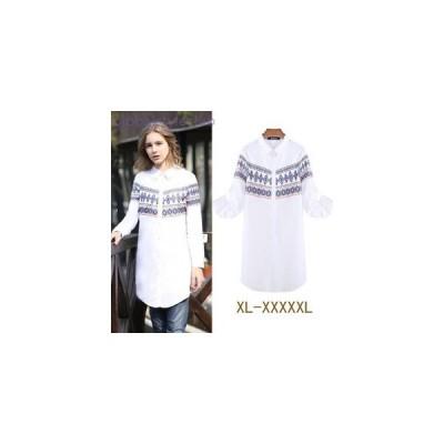 シャツ 春物 ロング デニム デザイン シンプル カジュアル 大きいサイズ