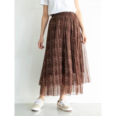 レオパード柄ティアードスカート