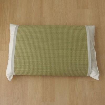 枕パッド 国産い草使用 『無地 枕パッド かため』 ストライプグリーン 約40×53cm 3659679