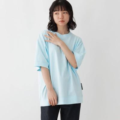 ベース コントロール BASE CONTROL 抗菌防臭 ビッグシルエット リブ仕様 ロゴワンポイント刺繍Tシャツ (サックス)