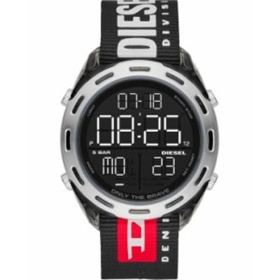 ディーゼル レディース 腕時計 アクセサリー Men's Digital Crusher Black Nylon Strap Watch 46mm Black