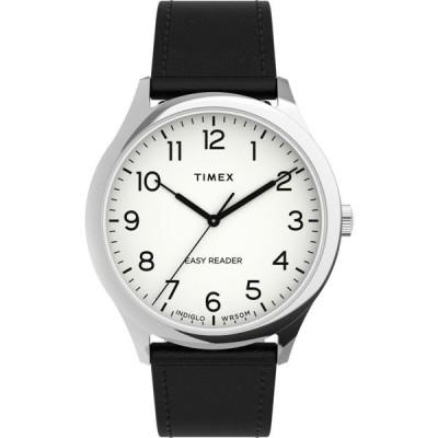 Timex Easy Reader 40mm レザーストラップ Silver-Tone/Black/White 腕時計