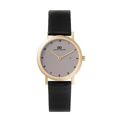 Danish Design Women's Quartz Watch with Grey Dial Analogue Display and Black Leather Strap DZ120010 並行輸入品