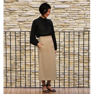 【トゥモローランド/TOMORROWLAND】 ウールギャバジン Iラインラップスカート