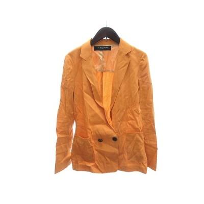 【中古】ユナイテッドアローズ UNITED ARROWS テーラードジャケット シングル 背抜き 麻 リネン 38 黄色 イエロー /AU レディース 【ベクトル 古着】