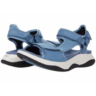 クラークス サンダル シューズ レディース Wave2.0 Skip. Blue Textile/Nubuck Combi