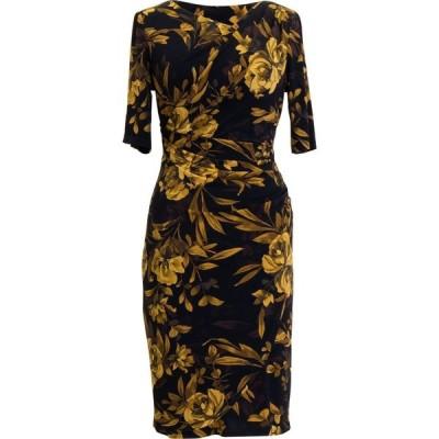 コネクテッド Connected レディース ワンピース 七分袖 ワンピース・ドレス Printed 3/4-Sleeve Sheath Dress Mustard