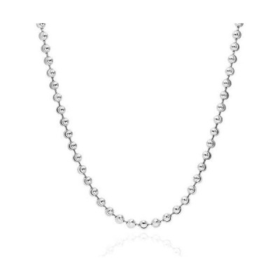 PORI JEWELERS 925 Sterling Silver 3mm, 4mm, 5mm Moon Cut Bead Chain Necklac