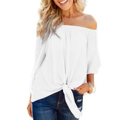 レディース 衣類 トップス Women's Loose Short Sleeve Off Shoulder Lace Up Chiffon Ruched Shirts ブラウス&シャツ