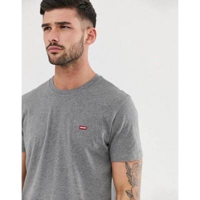 リーバイス メンズ シャツ トップス Levi's original small batwing logo t-shirt in charcoal heather