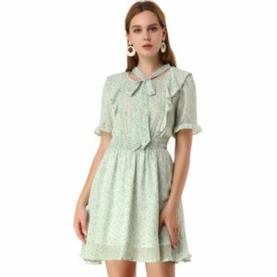 Allegra K ワンピース ドレス スモークボウタイネック フリル 半袖 花柄 レディース グリーン XS