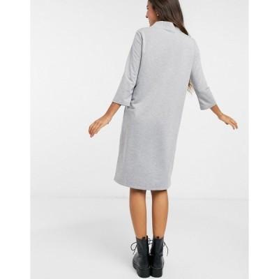 ジェイディーワイ レディース ワンピース トップス JDY sweat midi dress with high neck in gray Gray