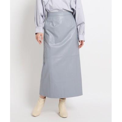 スカート 【WEB限定】フェイクレザーロングスカート