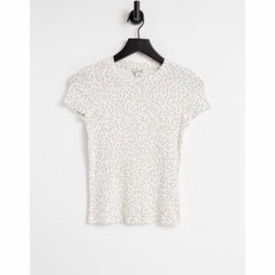 モンキ Monki レディース Tシャツ トップス Magdalena organic cotton floral print shrunken t-shirt in off white
