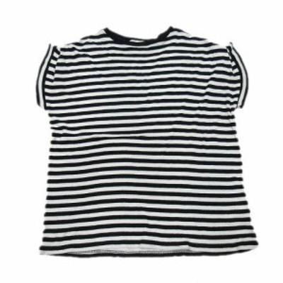 【中古】エンフォルド ENFOLD Tシャツ カットソー ボーダー 半袖 38 黒 ブラック 白 ホワイト/10▼10 レディース