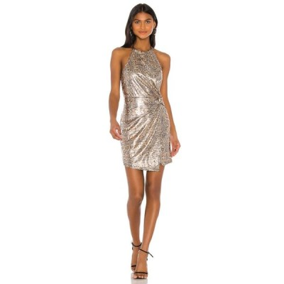 ジェー オー エー J.O.A. レディース ワンピース ラップドレス ミニ丈 ワンピース・ドレス Halter Wrap Mini Dress Gold Multi