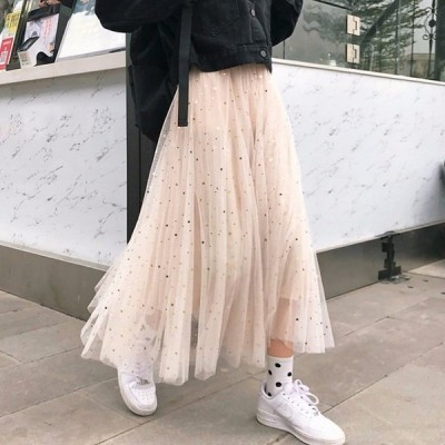 スカートボトムスチュール40代着痩せプリーツキラキラAライン2色風ハイウエストミモレ丈スカート2019新作ロング丈