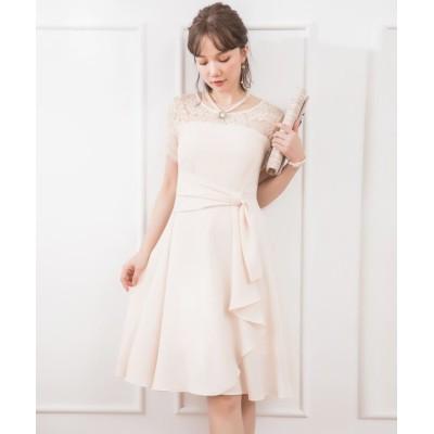 【ドレス スター】 レーススリーブサイドドレープドレス レディース アイボリー Lサイズ DRESS STAR