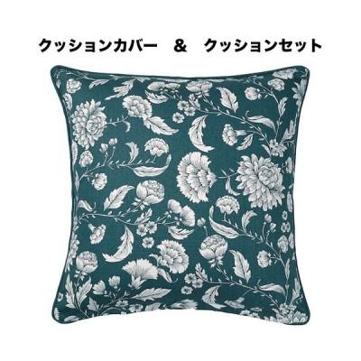 【IKEA】【クッションセット】IDALINNEA/イダリンネア クッションカバー ブルー/ホワイト/フローラルパターン50x50 cm