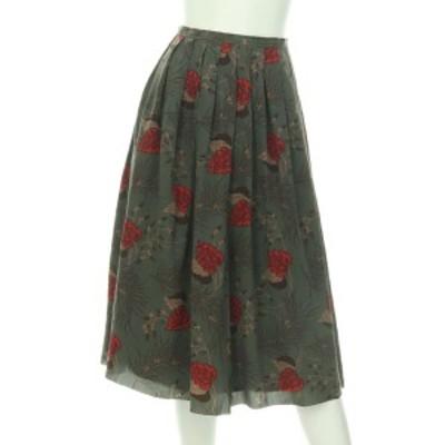 クロエ Chloe スカート サイズML M レディース グリーン系 フレアスカート シルク100%【中古】20201219