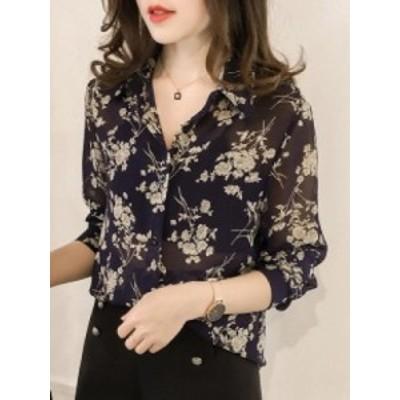 シフォン生地 花柄 シンプル 無地 長袖 3色 トップス シャツ