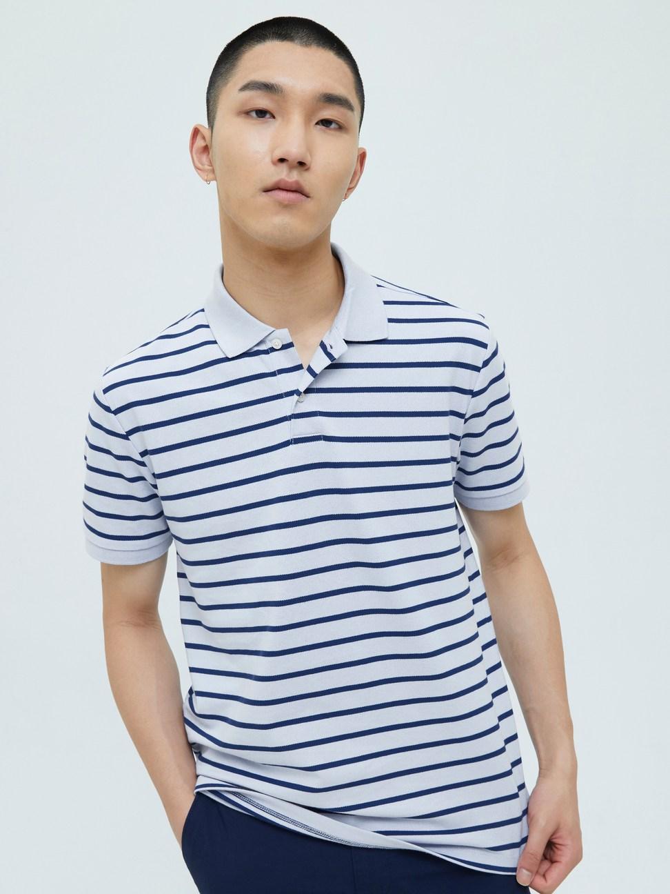男裝 條紋彈力網布短袖POLO衫