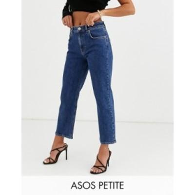 エイソス レディース デニムパンツ ボトムス ASOS DESIGN Petite High rise 'slim' straight leg jeans in mid vintage wash Mid vintage