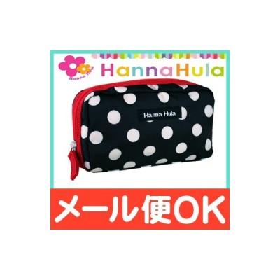 HannaHula (ハンナフラ) シングルファスナー ポーチ ポルカブラック