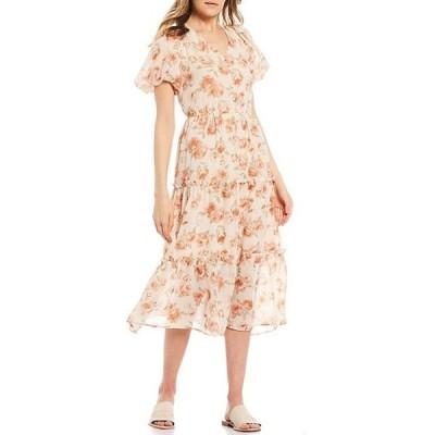 ブルーペッペーブルーペッパー レディース ワンピース トップス Floral Button Front Short Balloon Sleeve Tiered Midi Dress